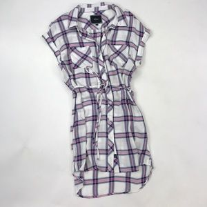 Rails White and Purple Plaid Dress